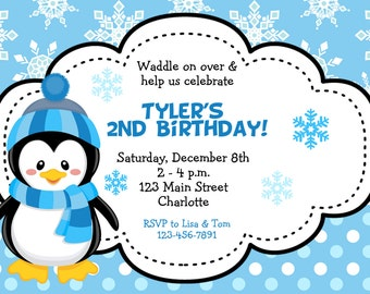 Winter birthday party invitations wiring diagrams penguin invitation etsy rh etsy com winter wonderland birthday party invitations winter wonderland first birthday party filmwisefo
