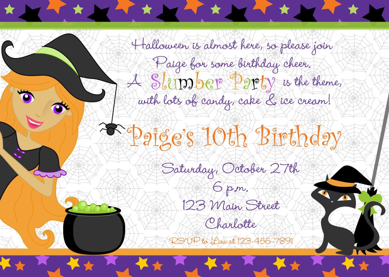 Halloween party invitation halloween slumber party | Etsy