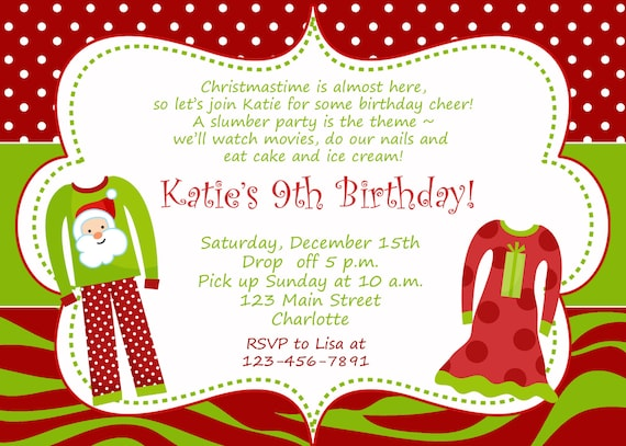 Christmas Birthday Party Invitations.Christmas Birthday Party Invitation Slumber Birthday Invitation You Print Or I Print