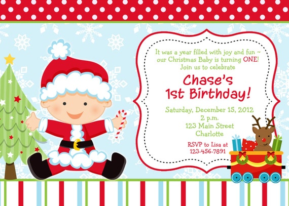 first birthday christmas party invitation christmas etsy