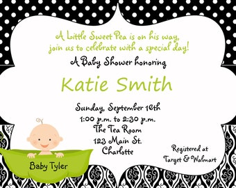 Pea in a pod Baby shower invitation -  sweet pea black and white baby  shower invitation --  boy or girl
