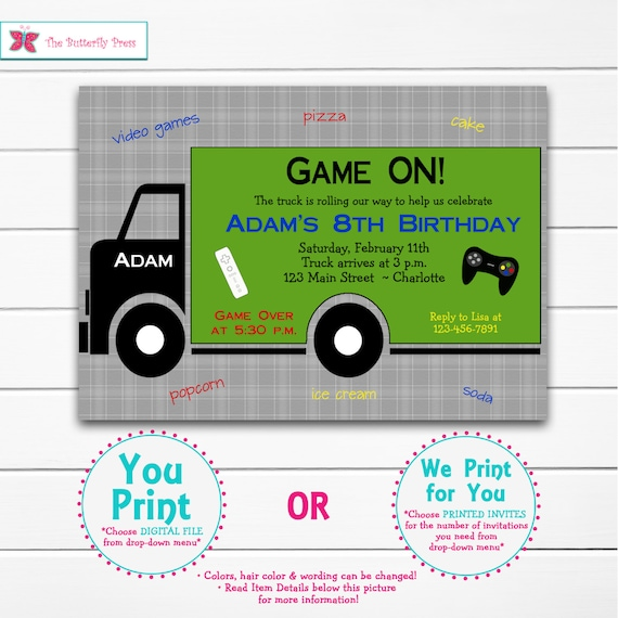 Video game birthday party invitation video game invitation etsy stopboris Image collections