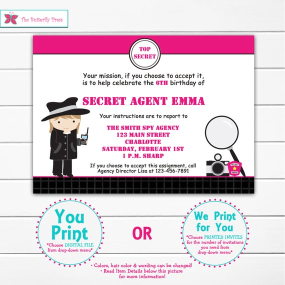 Spy Birthday Party Invitation Spy Party Invitation Spy Party Etsy