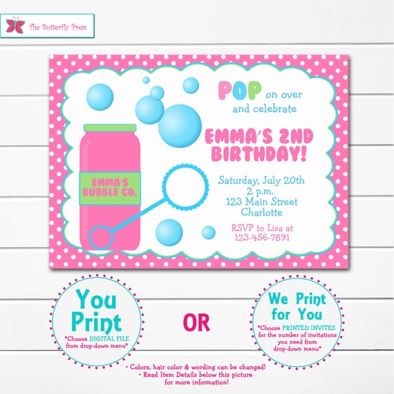 Bubbles birthday party invitation blowing bubbles party etsy image 0 filmwisefo