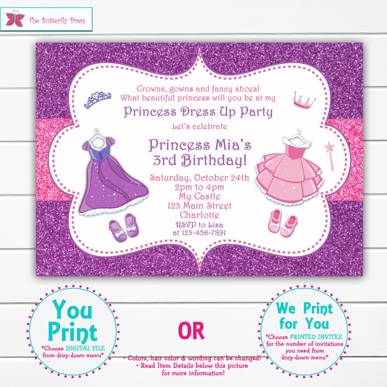 Princess Birthday Party Invitation Princess Cinderella   Etsy