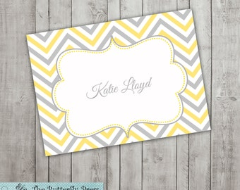 Yellow and Gray Chevron Note Cards -- Yellow Chevron Notecards  personalized folded notecards  --  personalized stationary
