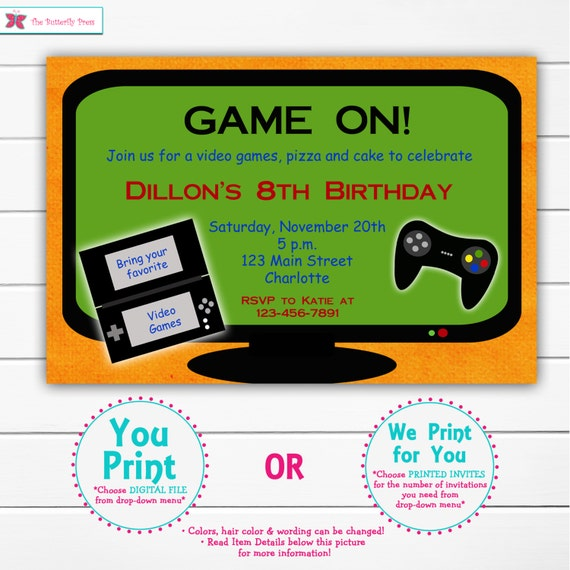 Video game birthday party invitation video game party etsy image 0 filmwisefo
