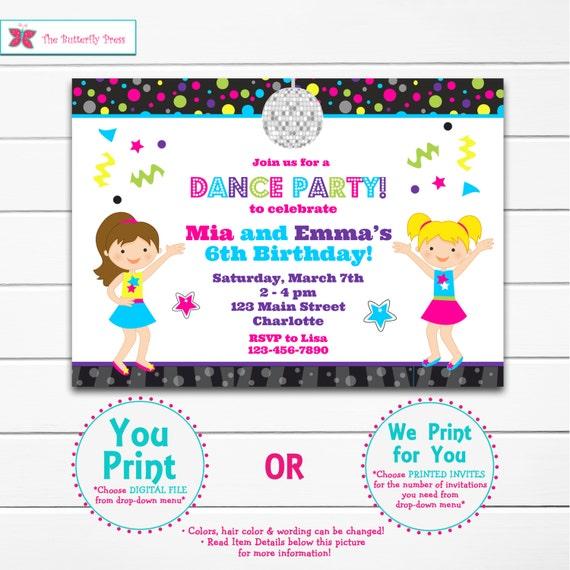 dance birthday party invitation dance party twins birthday etsy