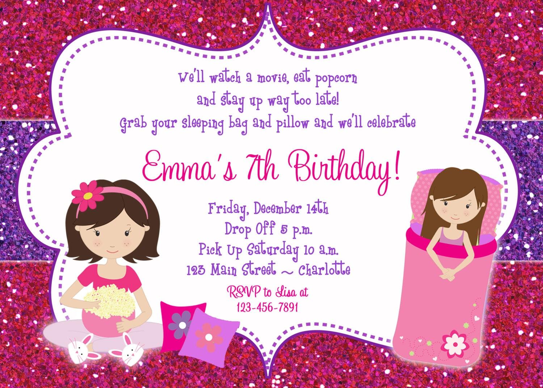 slumber party birthday invitation pajama party sleepover | Etsy
