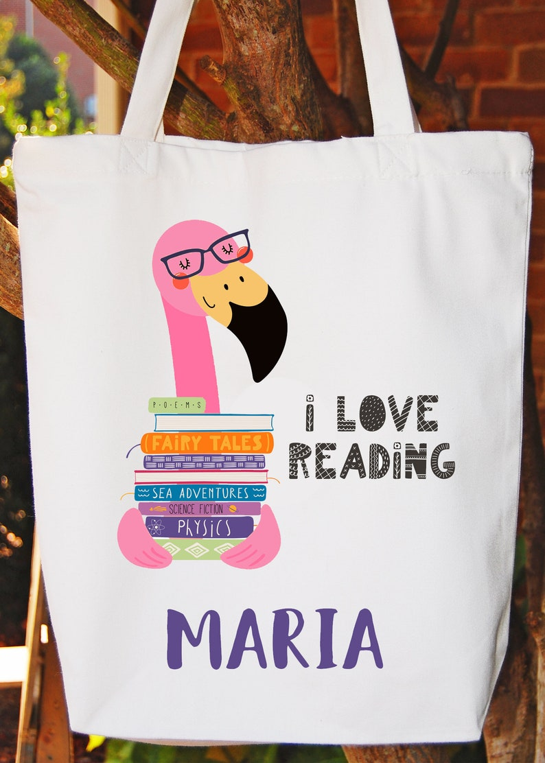 Library Tote Bag Library Books Tote Bag  Girls Bag White Cotton Tote Bag