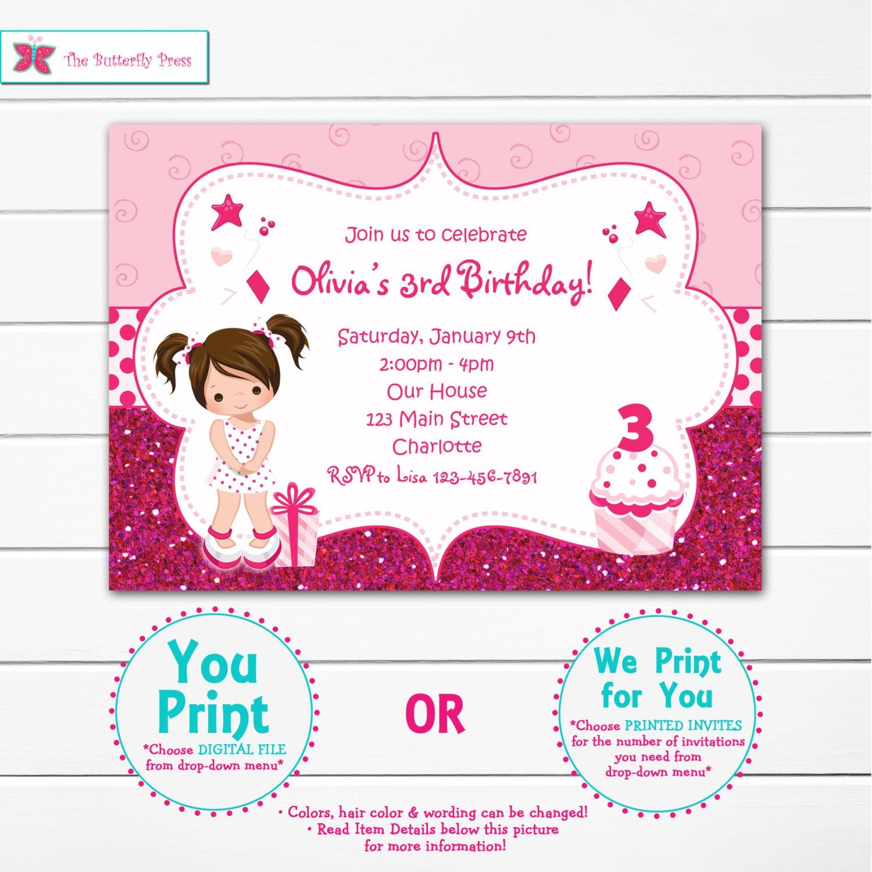 Girls Birthday Invitation Girls Birthday Party Glitter | Etsy