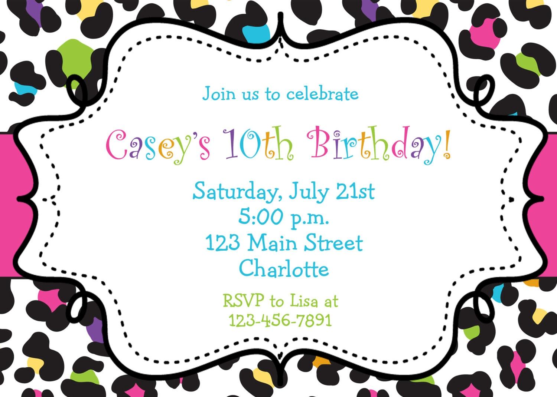 Rainbow Cheetah Girls Birthday Party Invitation Printable | Etsy