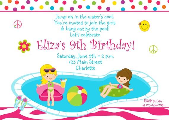 Invito compleanno festa in piscina ragazze piscina party for Party in piscina