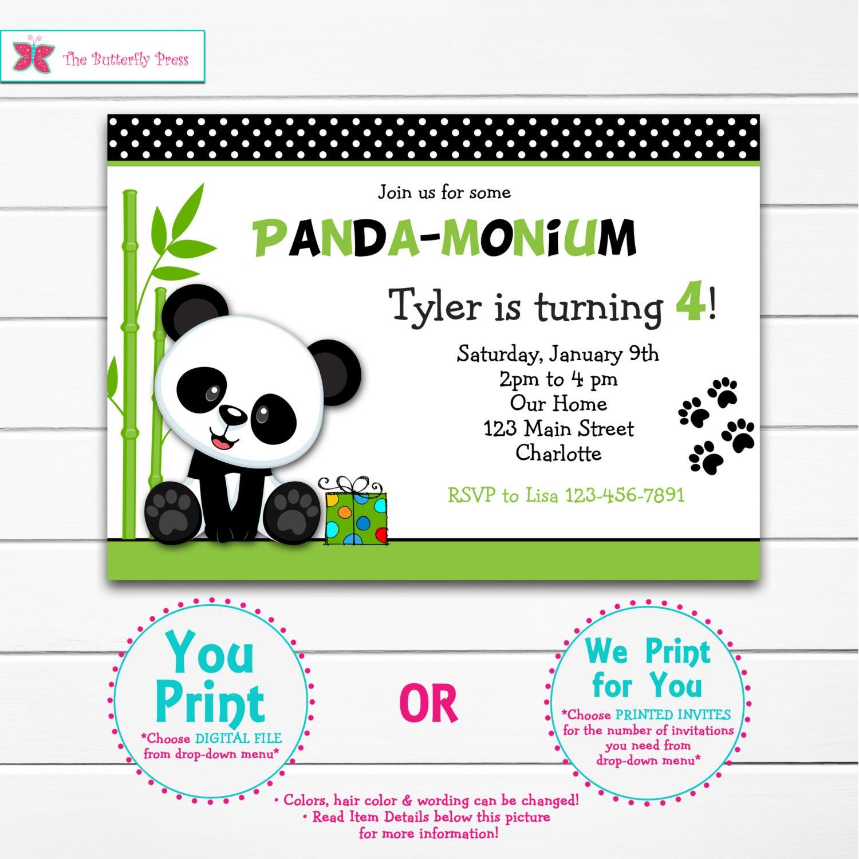 Panda Birthday Party Invitation Panda Bear Birthday Panda   Etsy