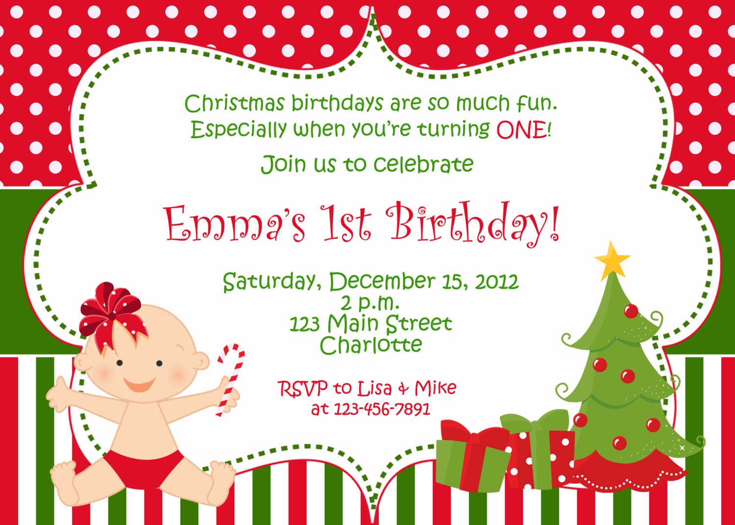 First birthday Christmas party invitation Christmas | Etsy