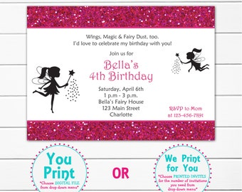 Fairy princess party birthday invitation - fairy pixie birthday invitation - You print or I print