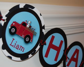 Firetruck Birthday Banner  -- Birthday party banner -- firefighter party -- fireman birthday party