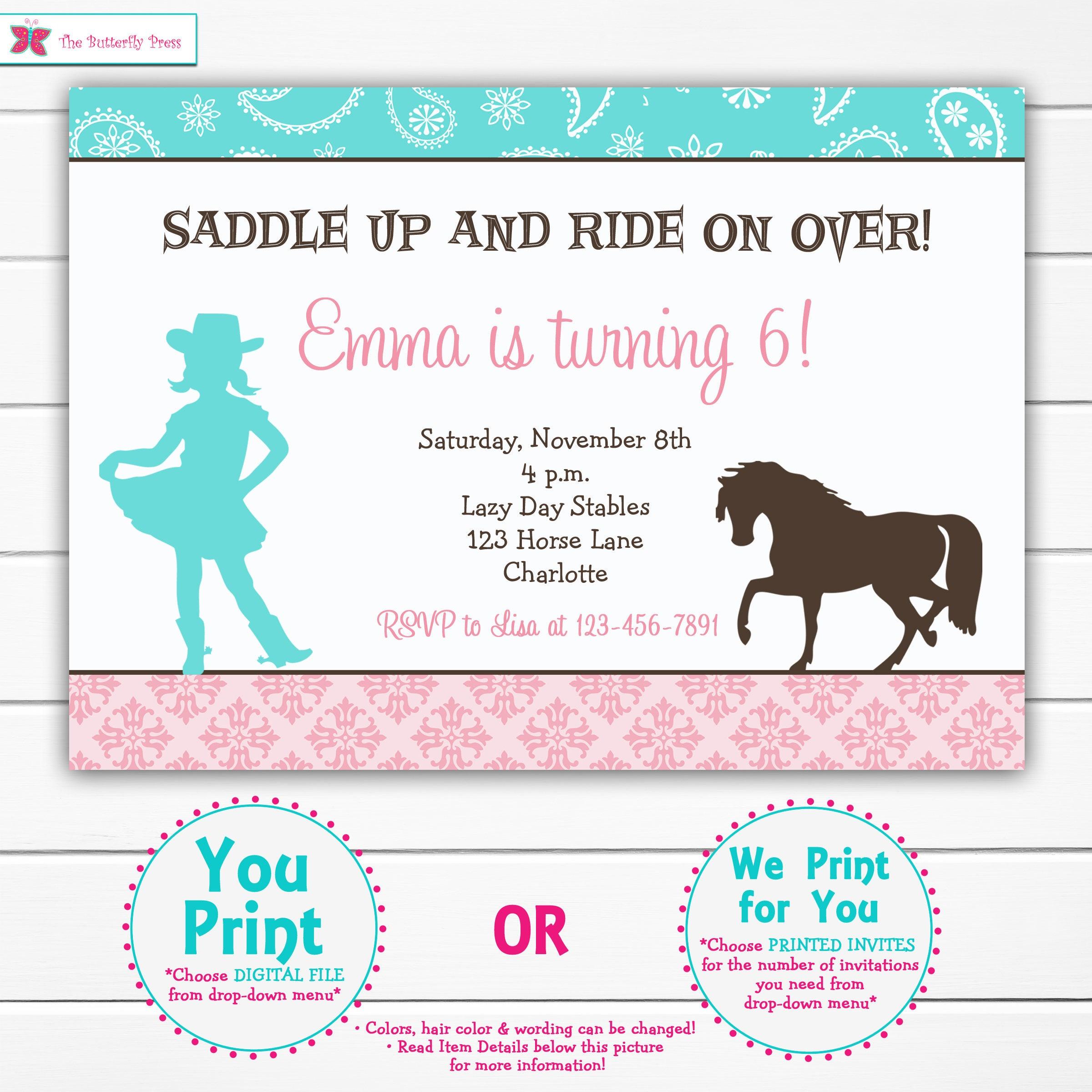 Horseback riding birthday invitation horseback riding party | Etsy