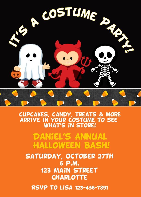 Halloween costume party invitation    Halloween costume image 1