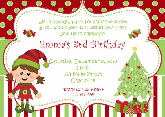 christmas birthday party invitation christmas birthday etsy