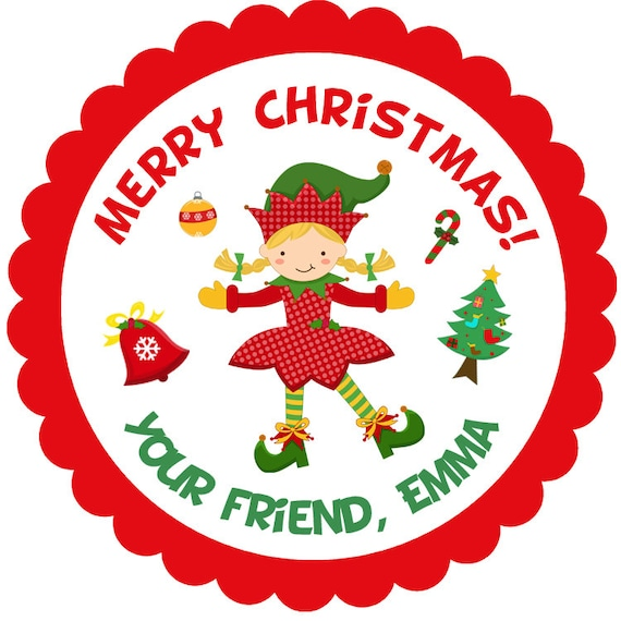 Christmas Gift Tags For Kids.Christmas Elf Sticker Kids Christmas Gift Tag Favor Tag Baked Goods Address Label Holiday Treats Tag Printed On Stickers Or Cardstock
