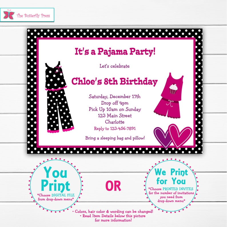Pajama Party Birthday Invitation Slumber Sleepover