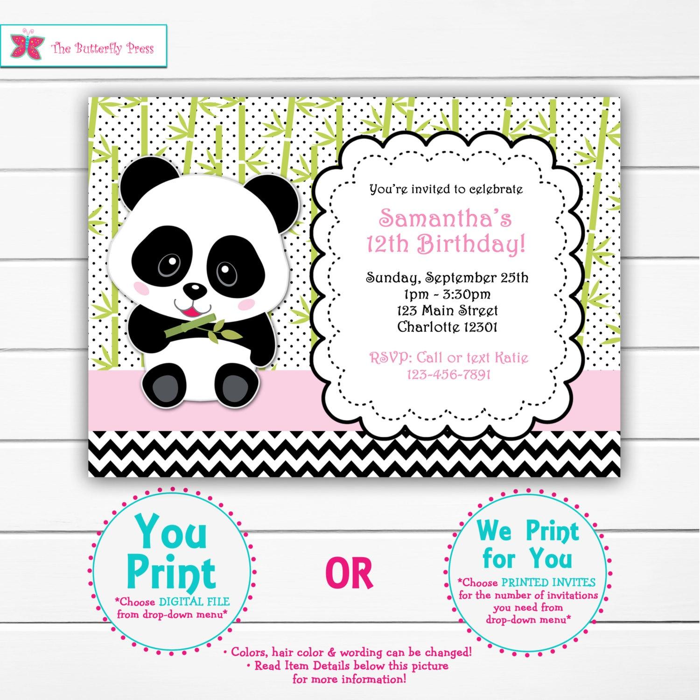 Girls Panda Birthday Party Invitation Panda Bear Birthday | Etsy