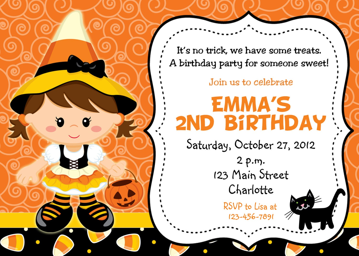 Halloween party invitation candy corn witch halloween | Etsy