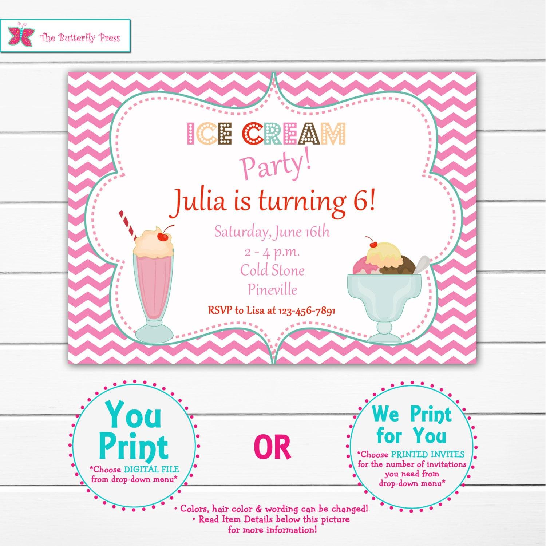 Ice cream party birthday Invitation ice cream party ice | Etsy
