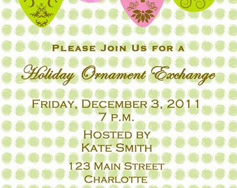 Ornament Exchange Invitation -- holiday ornament exchange - Christmas party