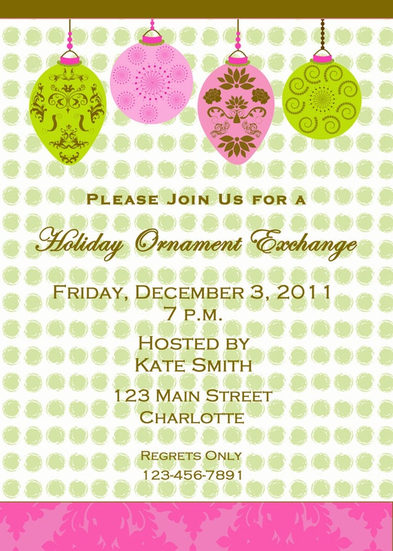 ornament exchange invitation holiday ornament exchange etsy