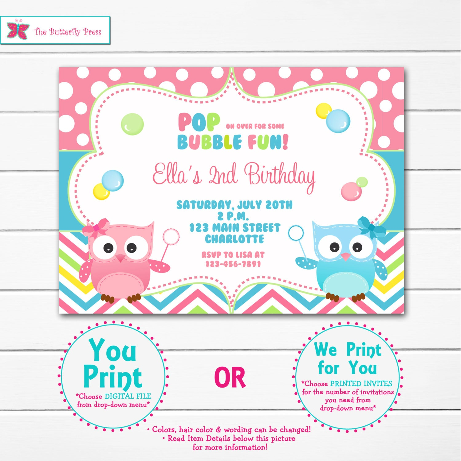 Owl and Bubbles Birthday Party Invitation Blowing Bubbles | Etsy