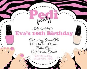 Spa Birthday Party Invitation Pedi Party Manicure Pedicure Party Mani Pedi Spa Party