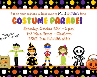 Halloween costume party invitation --   Costume Parade Party - Halloween birthday party invitation -- You print or I print