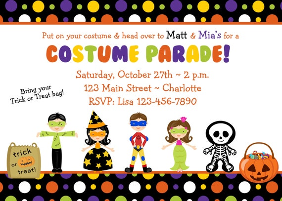 halloween costume party invitation costume parade party etsy