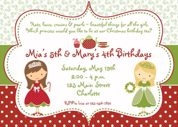 Christmas Birthday Party Invitations.Princess Tea Party Christmas Birthday Party Invitation Christmas Tea Party Birthday Invitation You Print Or I Print