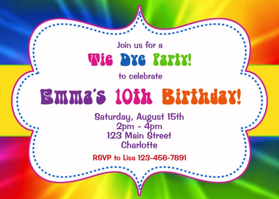 tie dye birthday party invitation tie dye birthday etsy
