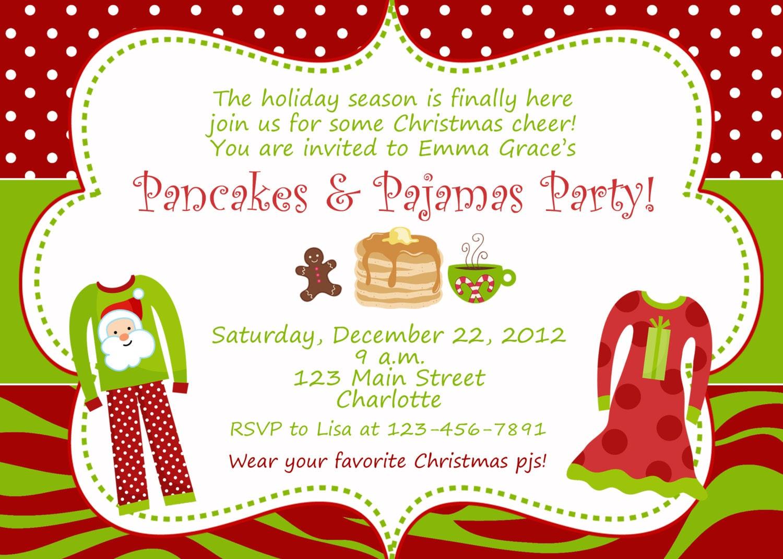 Pancakes and Pajamas Christmas party invitation slumber | Etsy