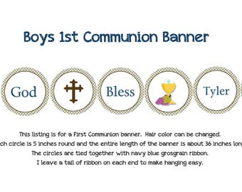 First Communion Banner Holy Communion Banner  Any hair color