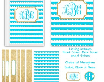 Binder Cover Set Personalized Binder Cover    You Print or I Print  FREE SHIPPING