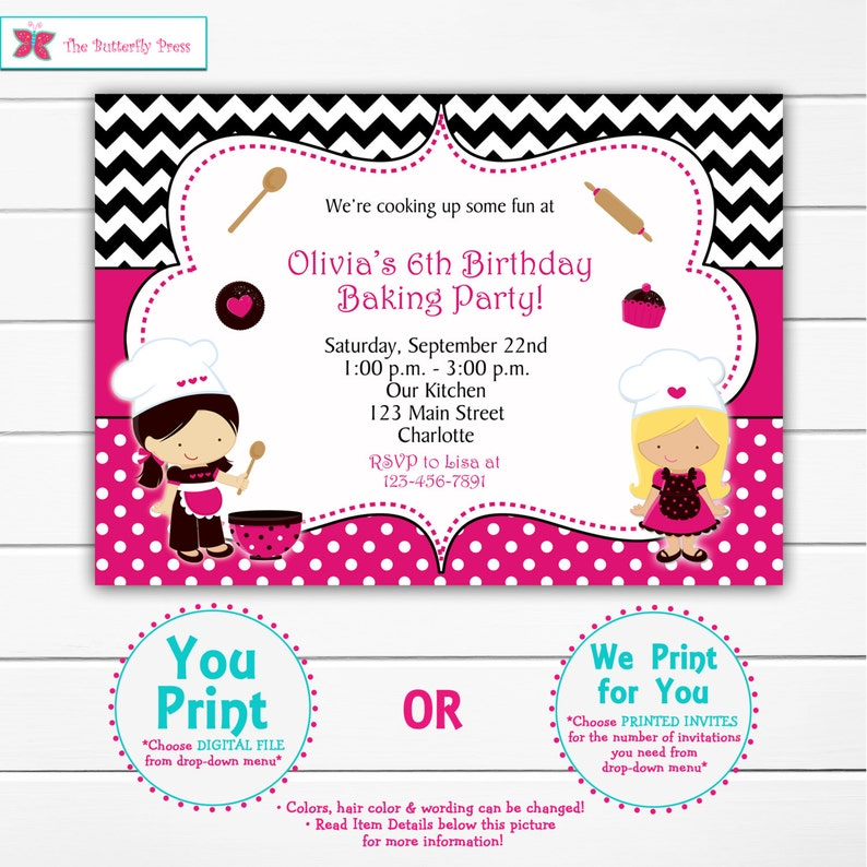 Cooking Birthday Party Invitation Baking Cupcakes