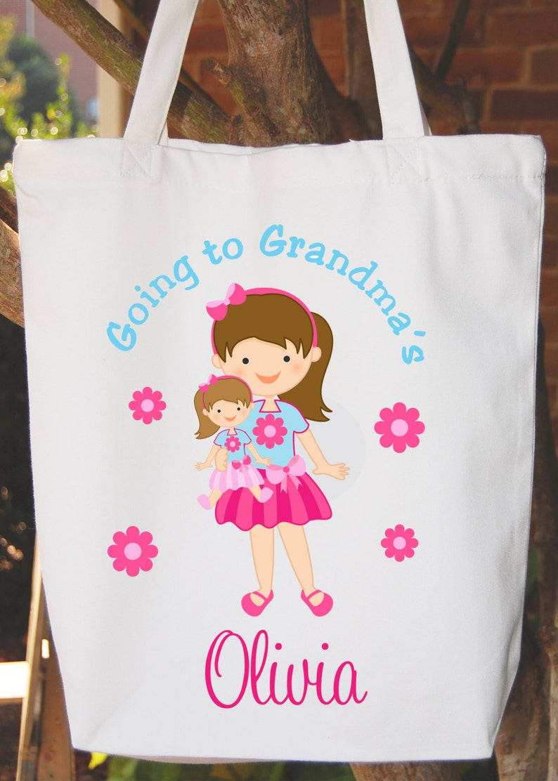 Any wording Any hair color Going to Grandma/'s Tote Bag  Girls Bag White Cotton Tote Bag