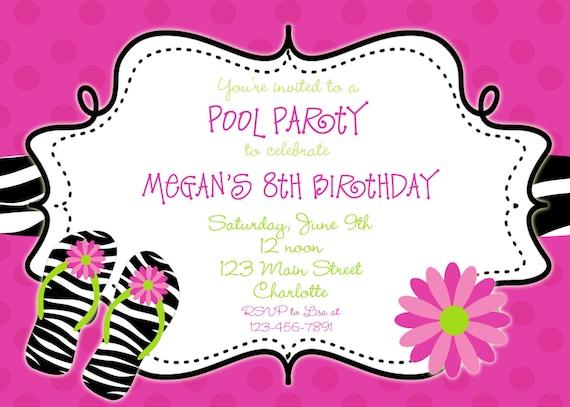 a6a45c637f51 Zebra print Pool party birthday invitation pool party