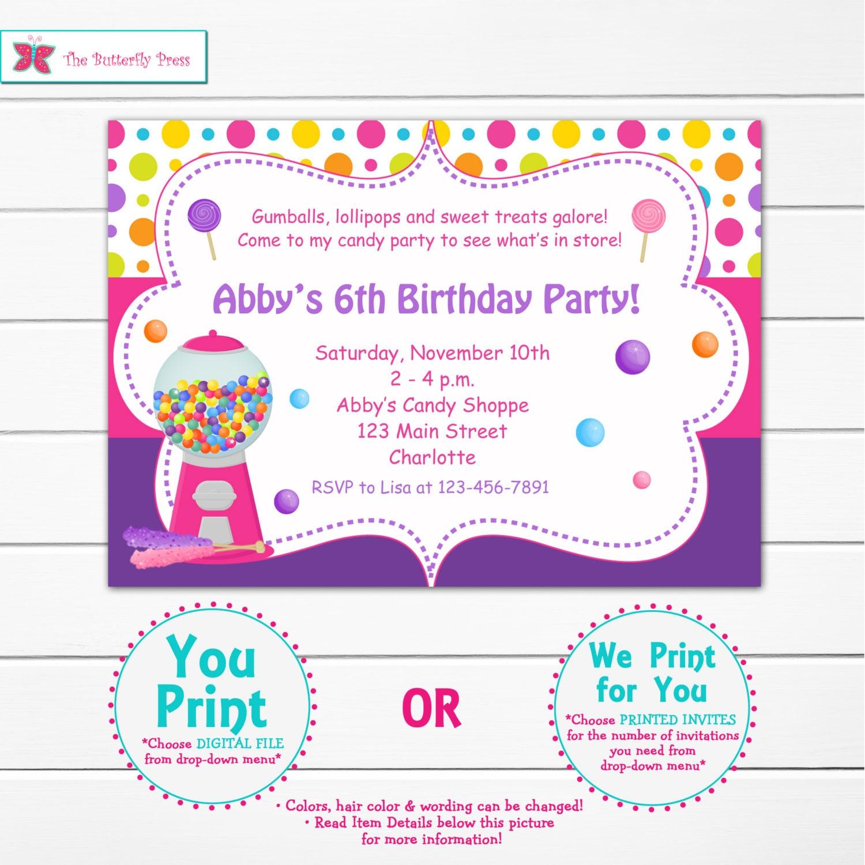 Candy Birthday Party Invitation candy party invitation | Etsy
