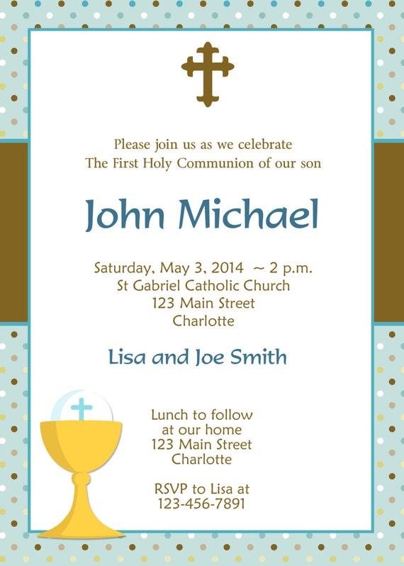 First Holy Communion Invitation Boys First Communion Etsy
