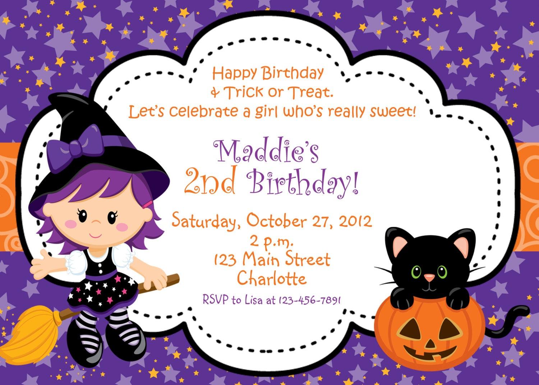 Halloween party invitation purple witch halloween | Etsy