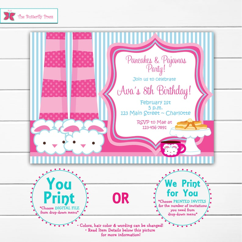 Pancakes And Pajama Party Birthday Invitation Slumber Party Etsy