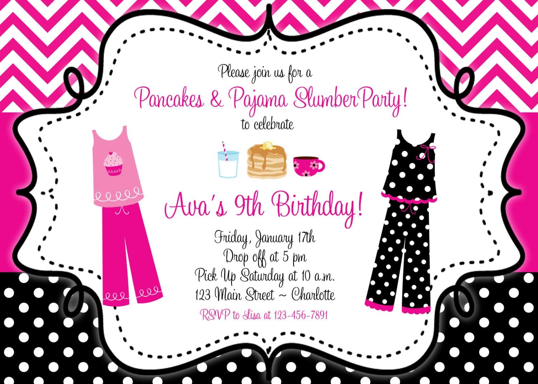 Pancakes and Pajama birthday invitation Slumber Birthday | Etsy