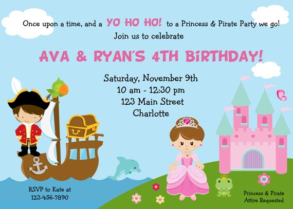 Pirate and princess birthday party invitation pirates and etsy image 0 filmwisefo