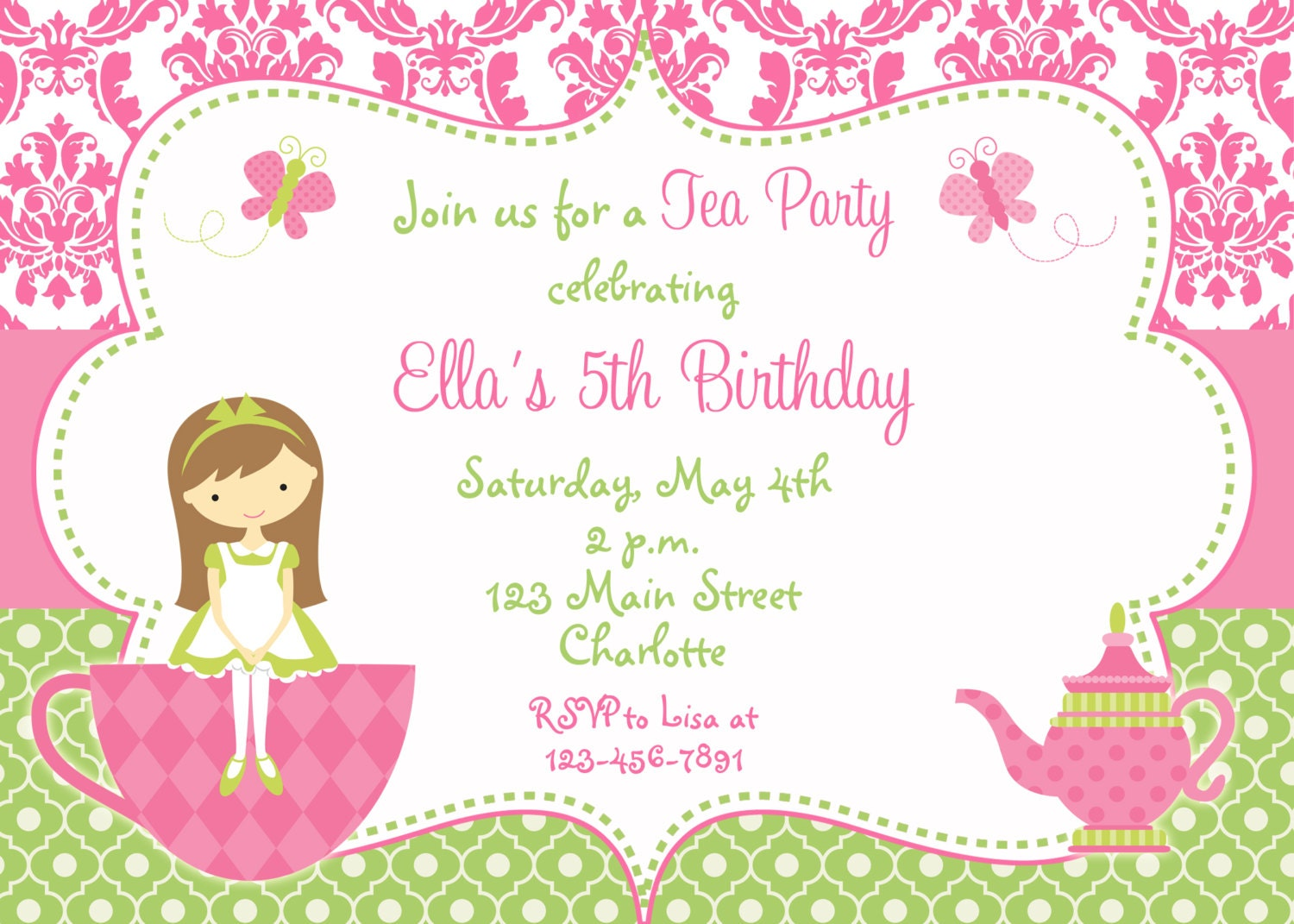 Tea Party Birthday Invitation Princess Dress Up